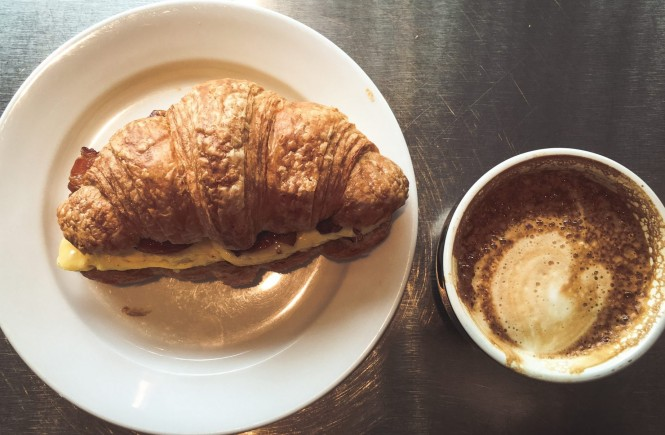 Bacon + Egg + Cheddar on Croissant + Latte